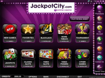 Beeldscherm Jackpot City lobby