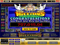 Major Millions jackpot win scherm